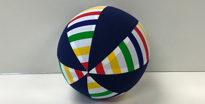 Balloon Ball Small - Rainbow Stripes with Navy Blue Panels