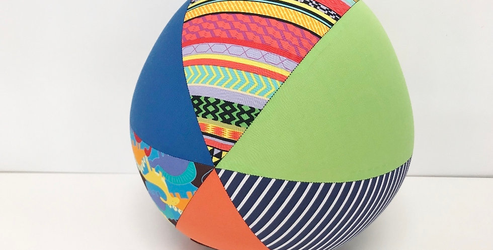 Balloon Ball Large - Dinosaurs Aztec Stripes with Orange Blue Green Panels