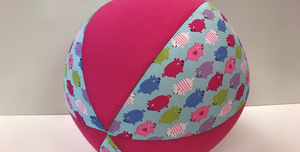 Balloon Ball - Ice Blue Coloured Pigs with Hot Pink Panels