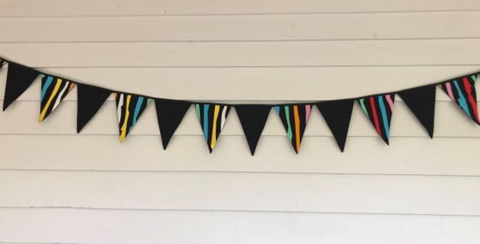Bunting - Black with Coloured Stripes