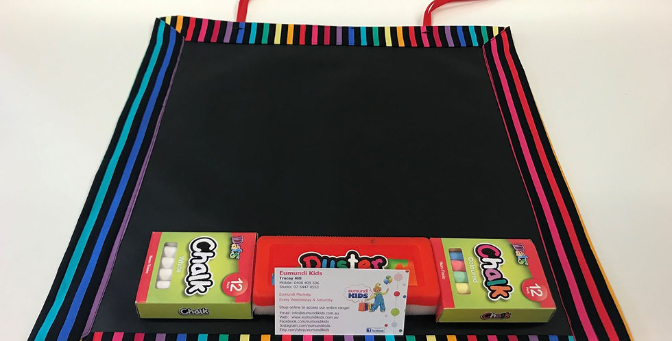 Chalk Mat - Black Rainbow Stripes with Red Ribbons