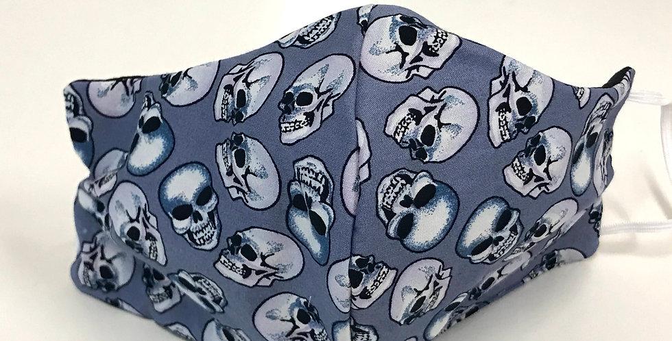 Face Mask - 4 Layers - Grey Blue Skulls - Black