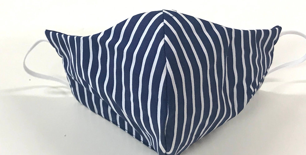 Face Mask - 4 Layers - Navy White Stripes - Dark Blue