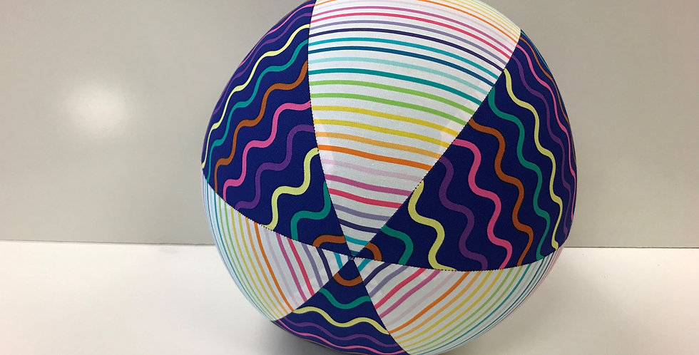 Balloon Ball - Rainbow Stripes on White with Purple Coloured Squiggles