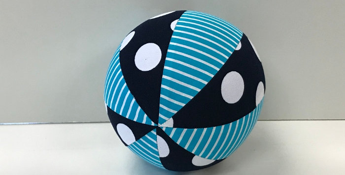 Balloon Ball Small - Aqua White Stripes - Navy White Dots