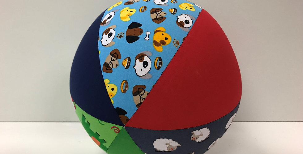 Balloon Ball Large - Dogs Zoo Animals Sheep with Navy Blue Green Red Panels