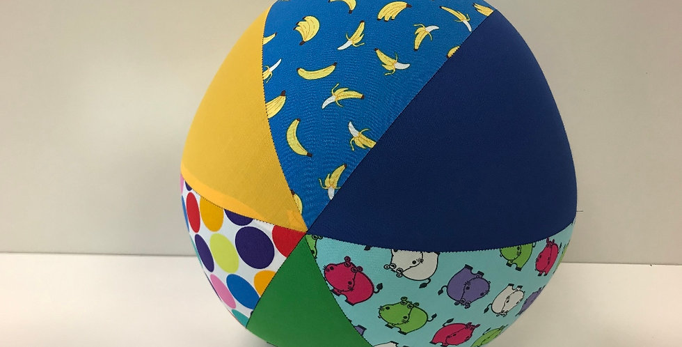 Balloon Ball Large - Bananas Dots Hippos with Yellow Blue Green Panels