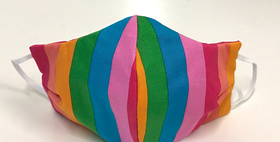 Face Mask - 4 Layers - Rainbow Stripes - Hot Pink