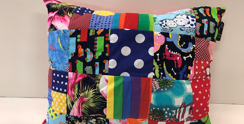 Cuddle Cushion - Mixed Prints Patchwork with Red Backing