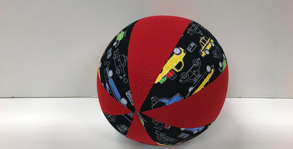 Balloon Ball Medium - Cars on Black with Red Panels
