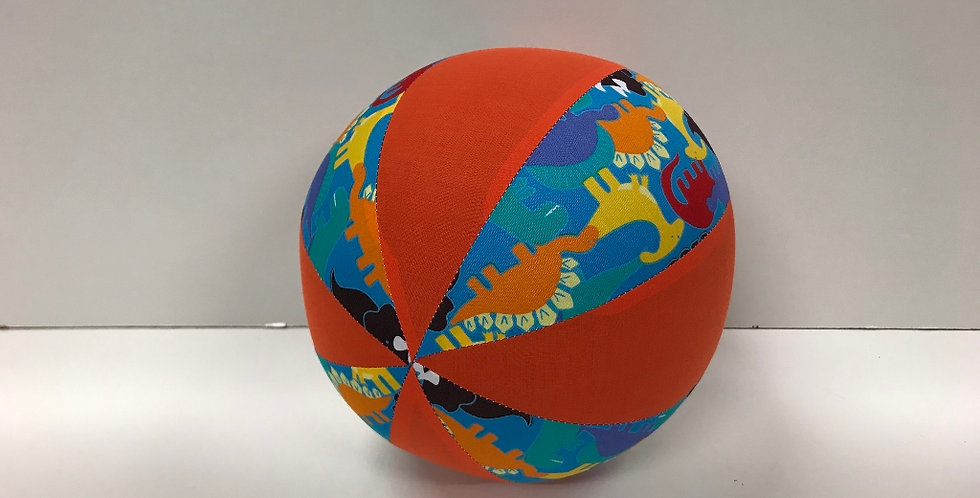 Balloon Ball Medium - Baby Dinosaurs on Aqua with Orange Panels