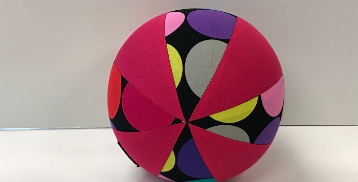 Balloon Ball Small - Large Dots on Black with Hot Pink Panels
