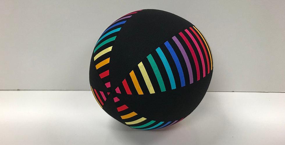 Balloon Ball Medium - Rainbows on Black with Black Panels