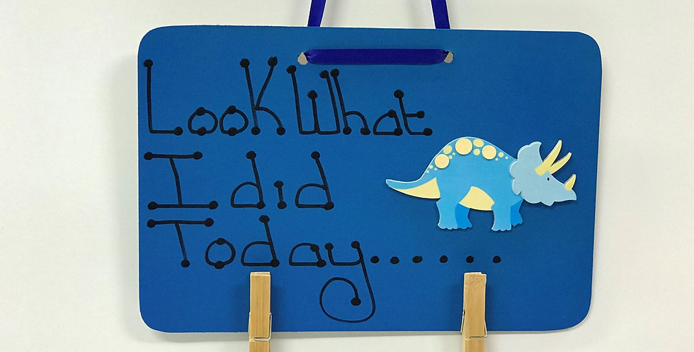 Light Blue Dinosaur - Blue Board - Blue Ribbon