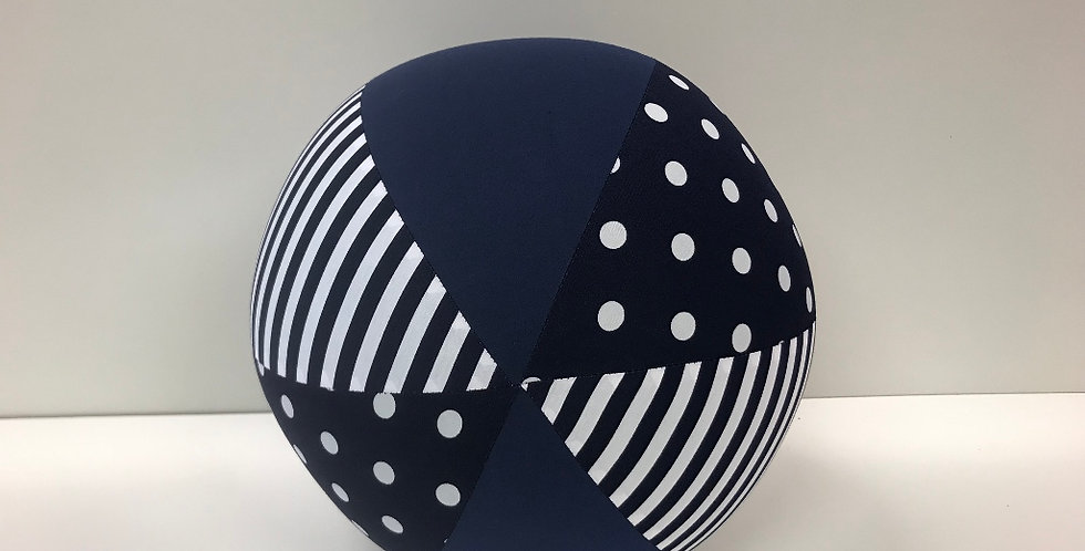 Balloon Ball - Navy White Dots Stripes and Navy Panels