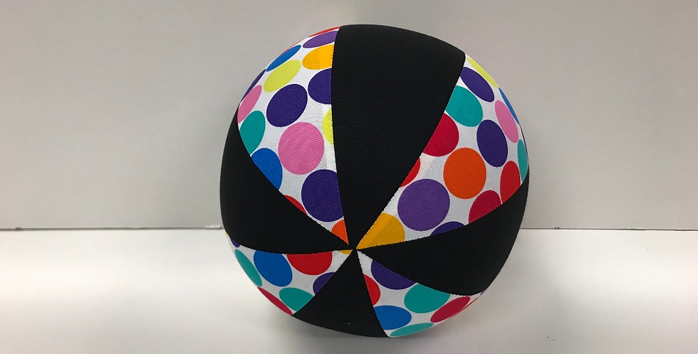 Balloon Ball Mediu - Multi Coloured Dots on White with Black Panels