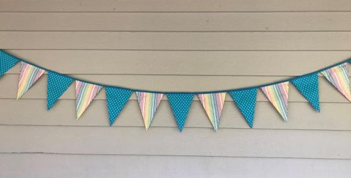 Bunting - Aqua White Stars - Rainbow Stripes
