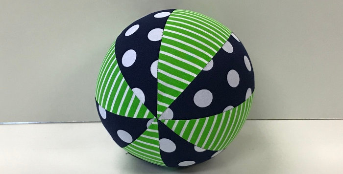 Balloon Ball Small - Green White Stripes - Navy White Dots
