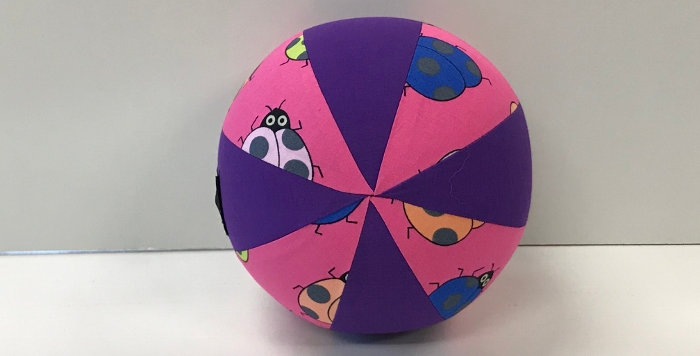 Balloon Ball Small - Coloured Bugs on Pink with Purple Panels