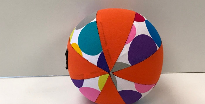 Balloon Ball Small - Large Coloured Dots on White with Orange Panels
