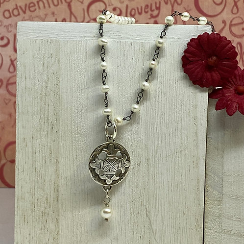 Compass Pendant /Pearl Necklace