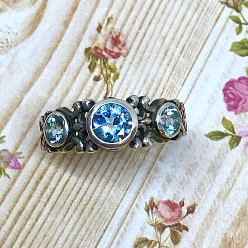 3-Stone Stackable Blue Topaz Ring