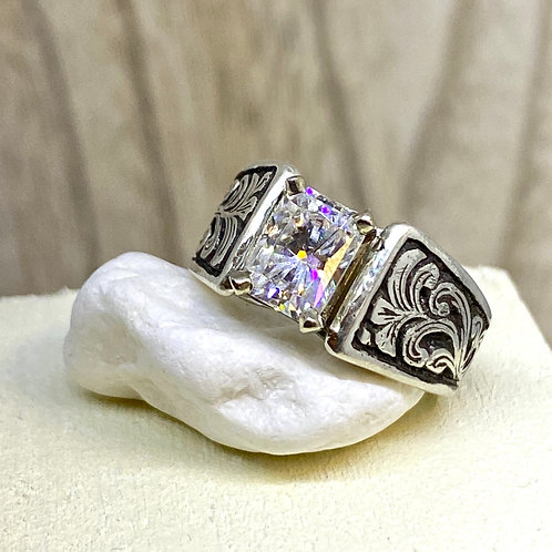 Wide Cathedral Moissanite Ring