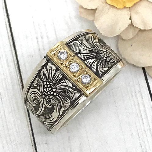 Custom 3 diamonds vertical ring