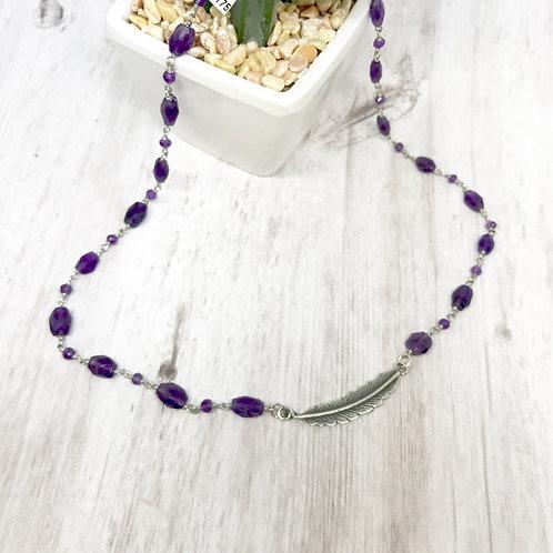 Spirit Feather Amethyst Necklace