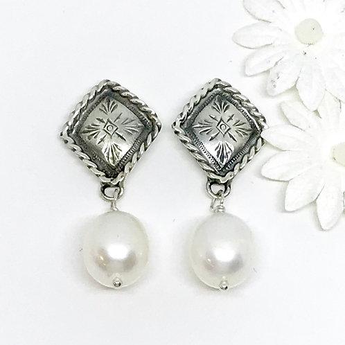 Rope Diamond Post Earring w/ Pearl