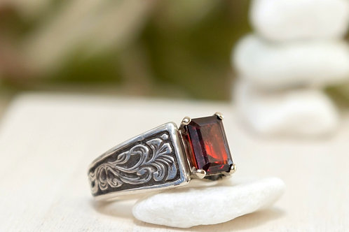 Garnet Cathedral Ring