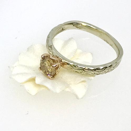 White & Rose Gold Champagne Diamond Ring
