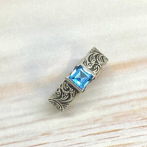 Blue Topaz Engraved Ring