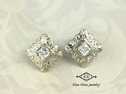 Diamond WG Scroll Earrings