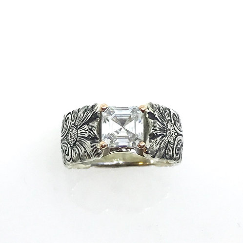 Cathedral Ring w/Asscher-cut Moissanite