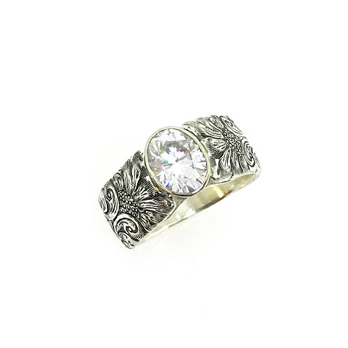 Cathedral Ring w/ Oval Moissanite