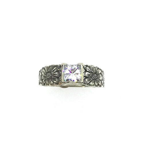 Sweet Cathedral Ring w/Princess-cut Moissanite