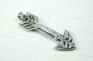 Engraved silver arrow pendant