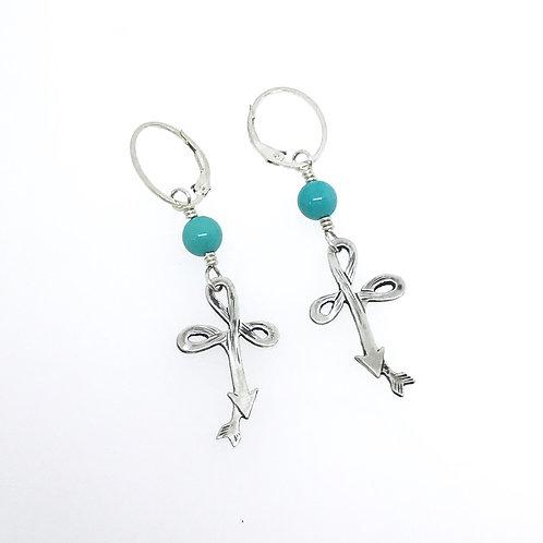 Cross Pattern Lever Back Hoop Earring w/Turquoise