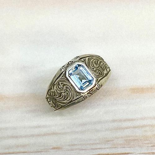Domed Blue Topaz Ring