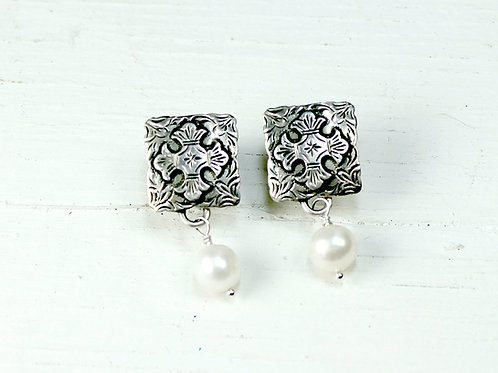 Square Compass Cross Earring