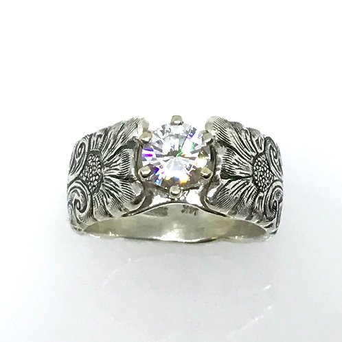 Cathedral Ring w/Round Moissanite