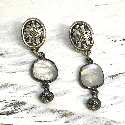 Filigree Moonstone Earrings