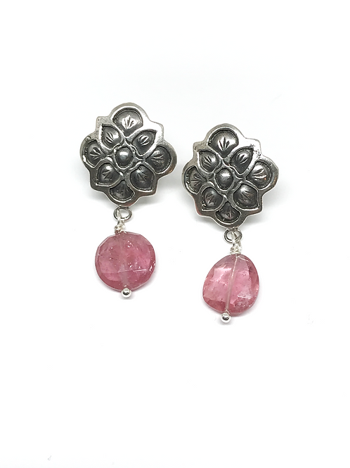 Mystic Rose Earring with Pink Tourmaline