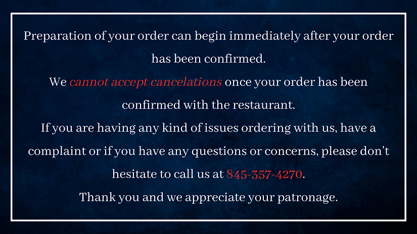 Preparation of your order can begin imme