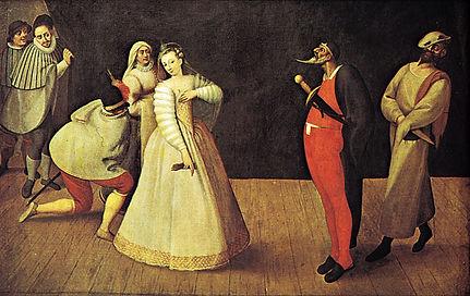 troupe-Commedia-dellarte-oil-painting-ar