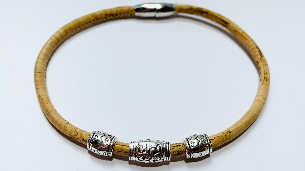 Natural Cork Bracelet with Decorative Charms