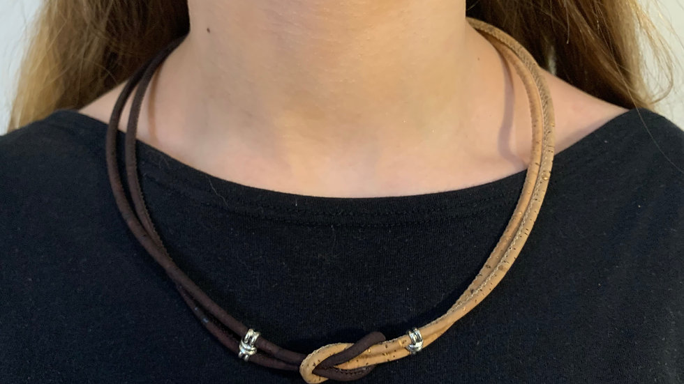 Natural 2 colour Cork Necklace with Infinity Knot and silver sliders