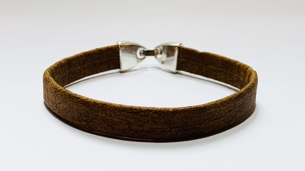 Brown Natural Cork Bracelet with Strong Lock Clasp