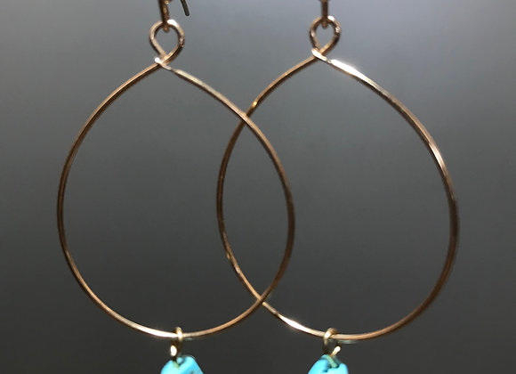 Gold Oval Hoops with Semi-Precious Stone